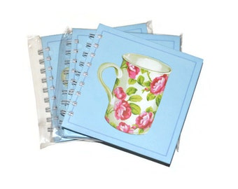 Hardcover Blank Journals Set of Three 5x5 BlueTea Cup  Journals Craft Supplies