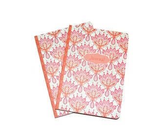 Orange Geometric Blank Journals Set of Two 5 x 7 Craft Supplies Orange White Ready To Personalize