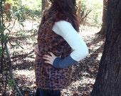 HALF PRICE SALE Fur Vest, Leopard Animal Print, Plush Faux Fur, Ocelot Animal Print, Medium, Soft, Cozy, Warm and Classy