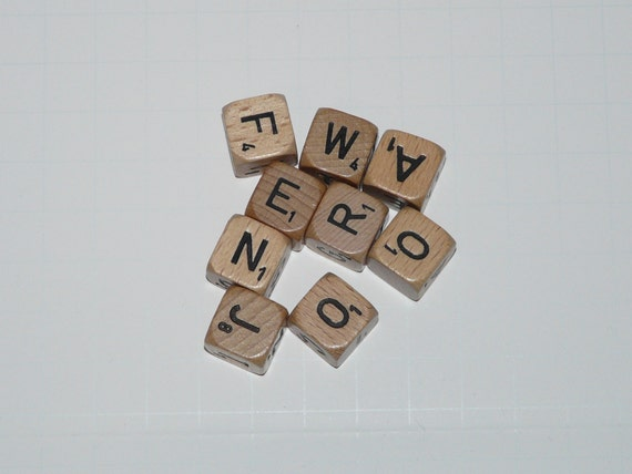 Scrabble Crossword Cubes Game Letter Tile Dice Wood Black
