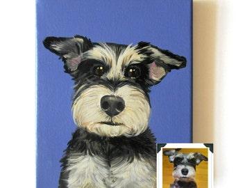 "6x8"" Custom Dog Portrait / Custom Pet Portrait - 1 Pet - Close-Up Solid background Original Painting on Canvas Gift Memorial Decor Puppy"