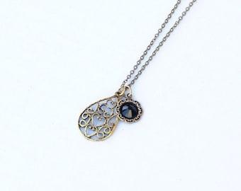 Brass Charm Necklace, Scroll Neckalce, Filigree Necklace, Vintage Style, Dainty Jewelry, Long Necklace, Ornate Necklace, Autumn Jewelry