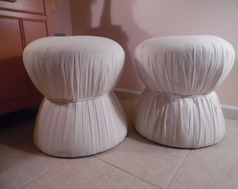 SHROOMS FOR ROOMS / Pair Of Solid Mushroom Ottomans / Pouf Ottomans / Tufted Tops