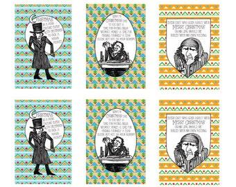 A Christmas Carol card set - Scrooge (6 cards, 3 designs)