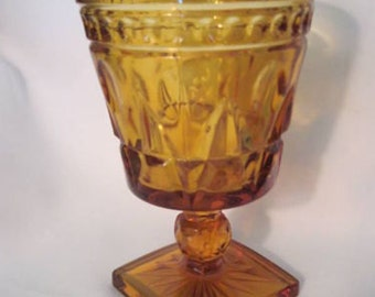 6 Park Lane Colony Glasses Footed Water Goblet Amber - Stemware Wine - Indiana Glass - Retro Mid Century Pressed Glass Collectible UNUSED