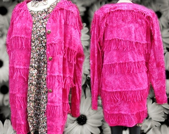Pink Fringe Tie Dye Space Baggy Oversized Fuschia Crazy Blazer Jacket