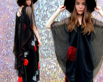 Black Floral Rose Sheer See Through Dramatic Maxi Dress