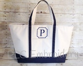 Embroidered Canvas Boat Tote Personalized - multiple sizes - several color choices - Bridesmaids gift