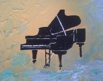 """Piano original 10""""x8"""" acrylic painting on canvas board.  Textured background. Signed on front. Dated on back."""