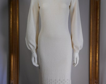 Vintage 1960's Jane Cream Coloed Long Knit Dress - Size S/M
