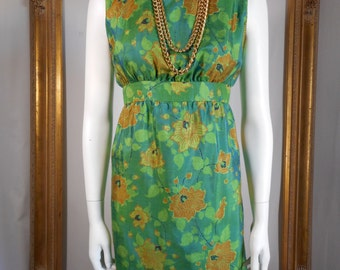 Vintage 1960's Green/Orange Floral Print Empire Waist Dress - Size 12