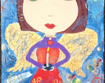 Kerri Ambrosino Mexican Folk Art PRINT Fairy Angel Pink Girl Hearts Love Wings Cats Bird