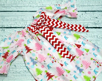 Girls Christmas Peasant Dress Pink Snowman Red Chevron Bow Size 3-6 mo, 6-12 mo, 18 mo, 2T, 3T, 4T, 5, 6, 8