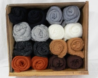 Merino short fiber batt, merino wool for wet felting and needle felting, short fiber wool roving, pet colors, neutral 1 ounce size