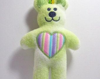 Plush Teddy Bear Rattle Ribbon Tag Toy Lime Green