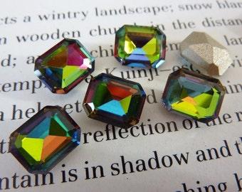 6 glass jewels, 10x8mm, vitrail, octagon