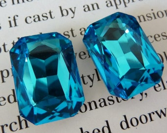 2 glass jewels, 18x13mm, aqua blue, octagon