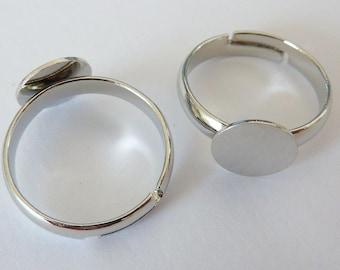 10 ring shanks (XS), bases, settings, Ø8mm, platinum silver