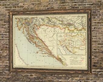 Croatia map - Old map of Croatia - Wall map print - Vintage maps restored - Fine print