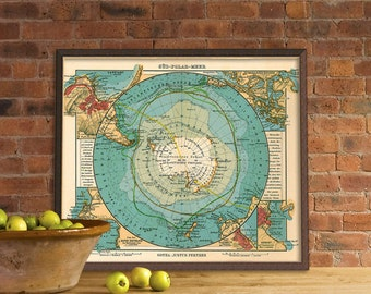 Antarctica  map - Vintage map restored - Map of Antarctica - Archival reproduction