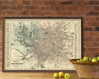 Vintage map of Manchester (UK)  - Old map -  Old city plan  restored - Archival print