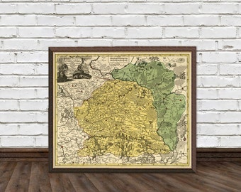 "Lithuania map - Old map of Lithuania - Archival print  - 16 x 19"" Print"