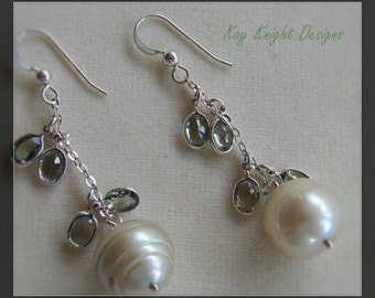 Chandelier Earrings with green sapphires and green cultured pearls by Kay Knight Designs