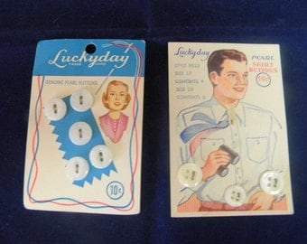 Lucky Day buttons for him or her two vintage cards of mop buttons