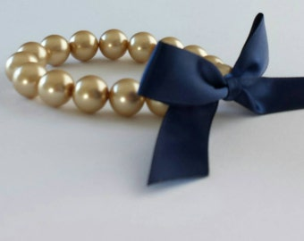 Gold Pearl and Navy Ribbon Bracelet