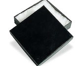 Black Glossy Jewelry Boxes, Set of 10, Cotton Filled 3.5 x 3.5 x 7/8