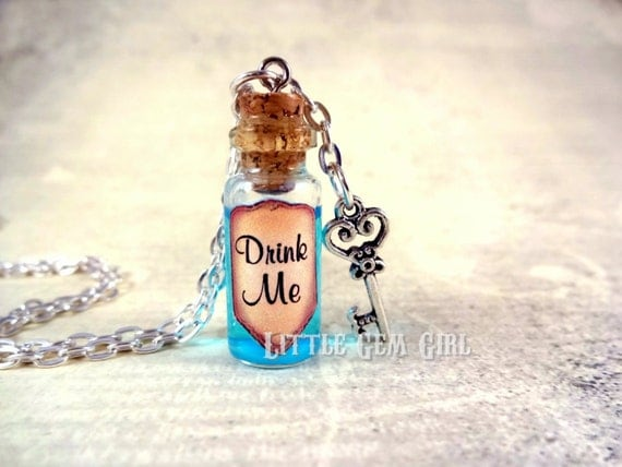 Drink Me Bottle Necklace -  Alice in Wonderland Drink Me Jewelry - Blue Shimmer Liquid with Key - Eat Me Vial Charm - Potion Magic Spells