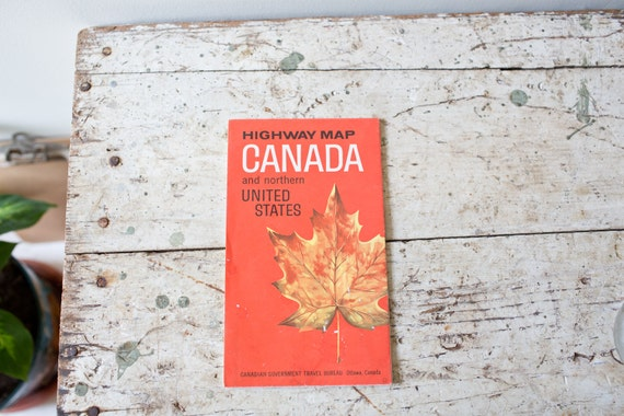 Vintage Canada Map US Map Canada