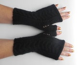 BLACK Fingerless Gloves, Wool Mittens, Arm Warmers,Gift Ideas / For Her / Winter Accessories