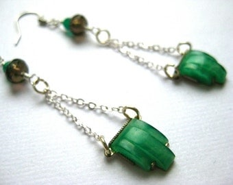 Dangle earrings in jade green and silver, with green onyx and smoky quartz
