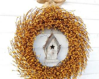 Fall Wreath-YELLOW Birdhouse Wreath-Summer Door Wreath-Autumn Wreaths-Rustic Country Home Decor-Bird House Decor-Scented Custom Wreaths-Gift