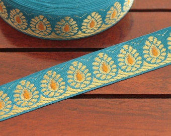 1 Yard-Firozi Blue Woven Jacquard Trims-Decorative fabric trim-Designer Silk Sari Border Trim-Sari Fabric-Brocade design Ribbon by the Yard
