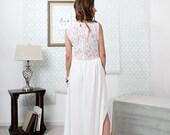 Leewana Wedding Dress / Lace Bohemian Wedding Dress with  cut out neckline// illusion Back and Modern Boho Chiffon Skirt with Slit option