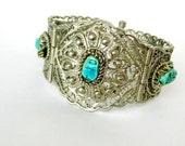 Vintage Art Deco Egyptian 800 Silver Filigree Scarab Bracelet