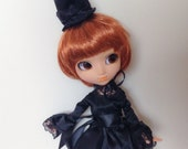 Pullip Black Satin Dress and Top Hat