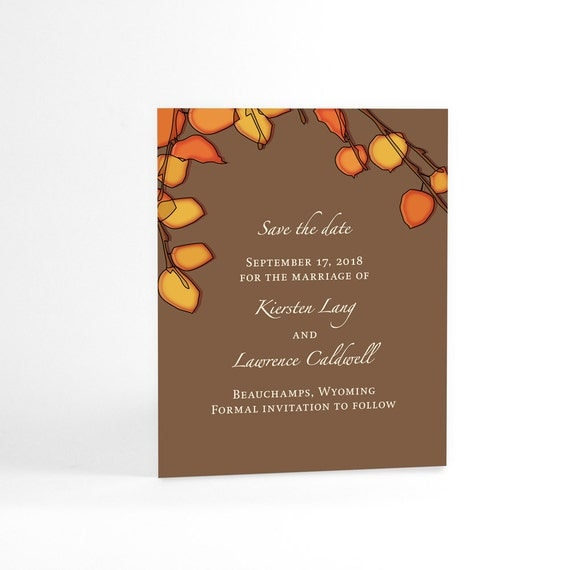 Orange Autumn Tree Leaves Save The Date Cards for Fall Wedding, Autumn Wedding Announcements. Custom Colors for Your Chosen Season
