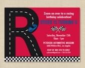 Race Car Invitation with Initial, Race Car Birthday Invitation, Boy Birthday Party, Printed Invitation or DIY Printable
