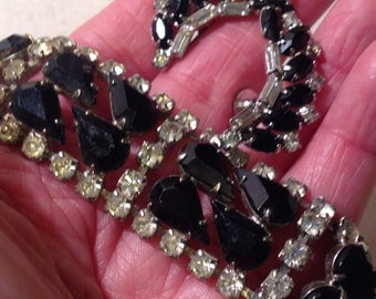 Vintage Black Rhinestone Bracelet and Screw Back Earrings
