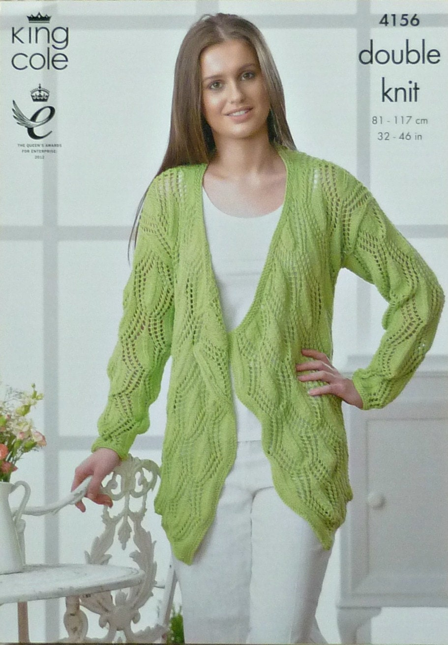 Womens Knitting Pattern K4156 Ladies Long Sleeve Lacy Waterfall Cardigan Knit...