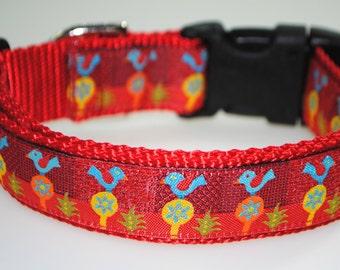 """Christmas Blue Birds 1"""" Adjustable Dog Collar - Limited Availability"""