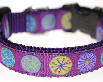 "Circles on Purple - 3/4"" Adjustable Dog Collar"