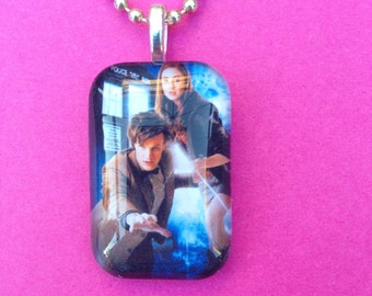 Matt Smith as Dr. Who with Amy Pond Glass Tile Pendant (10th Dr.)