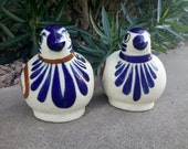 MEXICAN POTTERY QUAIL Pair Hand Crafted Vibrant Glaze Colors Royal Blue and Tan Patio Yard Decor or Home Decor Bird Figurine