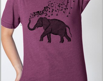 Elephant Parade Birds T shirt Hand drawn printed Mens Womens American Apparel Tee Tshirt  9 COLORS Full Spectrum Apparel