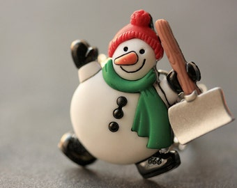 Snowman Ring. Christmas Ring. Winter Ring. Holiday Jewelry. Adjustable Ring. Christmas Jewelry. Silver Ring. Holiday Ring. Handmade Jewelry.