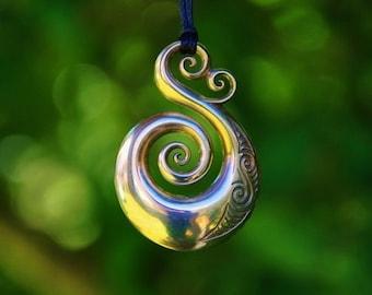 Solid Bronze Koru Maori tribal Pendant on black cord or antique bronze chain.
